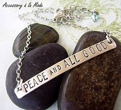 Hand Stamped personalized necklace  Sterling silver by accessoryalamode, $46.00