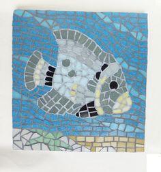 Grey Fish Mosaic Wall Art
