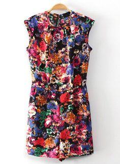 Jumpsuits Floral cuello redondo sin manga-multicolor US$24.18