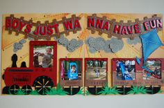 """Boys Just wanna have fun"" double page scrapbook layout by Jamie Penson. jamieshappyscrapping@blogspot.com"