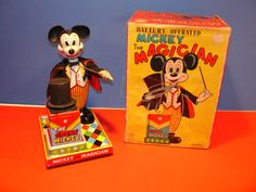 Linemar Mickey The Magician  Mickey Mouse Battery Tin Toy from 60s ebay