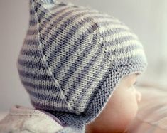 Pixie Hat Knitting Pattern for Baby LOGAN | Etsy Baby Hat Knitting Pattern, Baby Hat Patterns, Easy Knitting Patterns, Knitting Stitches, Knitting Yarn, Vintage Patterns, Baby Knitting, Knitting Tutorials, Pixie