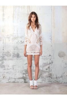 Add a nude slip. Wear with gladiator sandals.  And later use as a beach cover up.