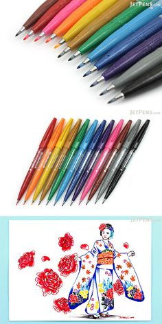 Create expressive drawings and write beautiful characters with these felt tip Pentel Fude Touch Sign Pens.