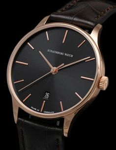 Schaumburg Watch - Classic -18k No 01 Solid 18k Rose Gold--750-Automatic Black