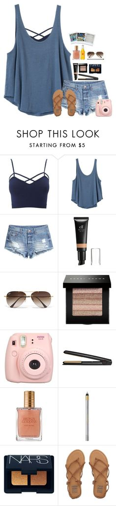 """Looking at Bonclarken pics"" by lindsaygreys ❤ liked on Polyvore featuring Charlotte Russe, RVCA, H&M, Ray-Ban, Bobbi Brown Cosmetics, GHD, Estée Lauder, L'Oréal Paris, NARS Cosmetics and Billabong"