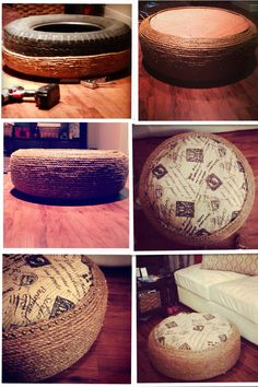 "My ""tire ottoman"" ( ( : ) super proud if it!!!"