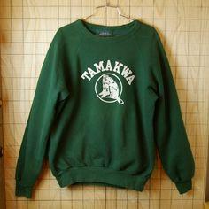 【BEAVER CANOE】カナダ製古着TAMAKWAグリーン(緑)フロッキープリントラグランスウェット