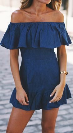 bd9470294e73 Chambray off shoulder romper. Summer outfit style. Demin Dress