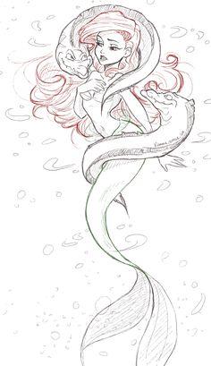 Awesome Little Mermaid art Ariel Disney, Disney Princesses, Disney And More, Disney Love, Disney Magic, Disney Stuff, Disney Sketches, Disney Drawings, Disney Tattoos