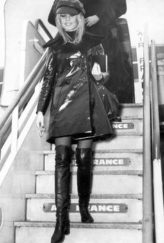 Want to pull off patent leather like Brigitte Bardot? Pair yours with a newsboy cap and thigh-high boots, of course.