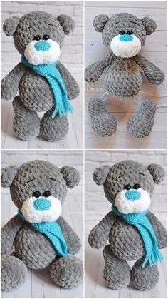 A great amigurumi plush bear crochet pattern is waiting for you in the beautiful amigurumi toy models. Teddy Bear Patterns Free, Crochet Teddy Bear Pattern, Knitted Teddy Bear, Crochet Patterns Amigurumi, Cute Crochet, Crochet Crafts, Crochet Baby, Crochet Projects, Crochet Slippers