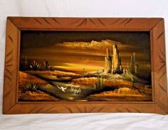 "Vtg Black Velvet Painting Desert Landscape Sunset Sunrise Cactus 14""x23"" Framed"