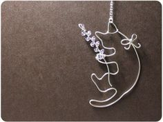 Cat and Lavender - Sterling Silver Pendant Necklace w/ Crystal beads, cat necklace $38