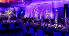 Wow! Loving this fab purple #uplight glow at this #wedding #reception: #modwedding