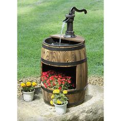 Whiskey Barrel Fountain with Planter