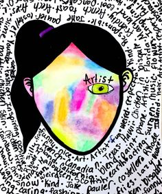 """This fifth grader's self portrait blows me away. It doesn't hurt that the word she chose to represent herself was """"Artist""""! Self Portrait Art, Self Portraits, Primary School Art, Wonder Art, Wonder Novel, 6th Grade Art, Art Lessons Elementary, Elementary Art Rooms, Art Lesson Plans"""