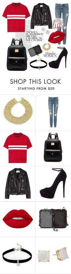 """""""Leather jacket"""" by matildasinc ❤ liked on Polyvore featuring Chanel, Frame Denim, Tim Coppens, Acne Studios, Giuseppe Zanotti, Lime Crime, NARS Cosmetics, Loren Olivia and Kate Spade"""