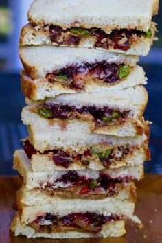 Peanut butter with bacon sandwich and cherry preserves and jalapenos
