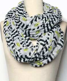 Loving this White & Yellow Daisy Infinity Scarf on #zulily! #zulilyfinds