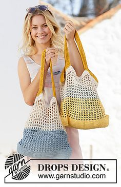 DROPS Design – knitting patterns, crochet patterns and high quality threads – The Best Ideas Crochet Beach Bags, Crochet Market Bag, Crochet Tote, Crochet Purses, Crochet Yarn, Free Crochet, Drops Design, Knitting Patterns, Crochet Patterns