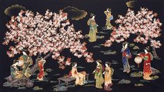 R Kaufman Oriental Traditions Crimson Garden Scenic Panel - Asian Quilts, Fabric Shack, Quilt Material, Robert Kaufman, Quilt Kits, Chinese Art, Oriental, Japanese, Traditional