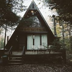 Quaint little house - cabin. Forest home, a frame house Future House, A Frame Cabin, A Frame House, Bohemian House, Triangle House, Triangle Square, Cabins And Cottages, Log Cabins, Small Cabins