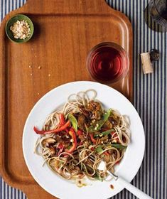 Freezer Slow Cooker Asian Pork Roast with Snow Peas, Red Peppers and Soba Noodles - Dinner