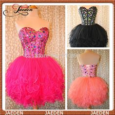 New Real Photos Fashion Sweetheart Sexy Short Prom Dress Crystals Beads Mimi Formal Party Ball Gown Girls Organza Custom  $89.00