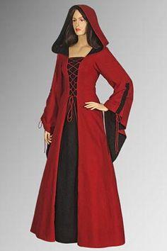 Medieval Renaissance Maiden Dress Gown with Hood door YourDressmaker