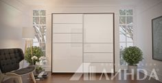 Белый глянцевый шкаф-купе в темном корпусе / Stylish white glossy wardrobe