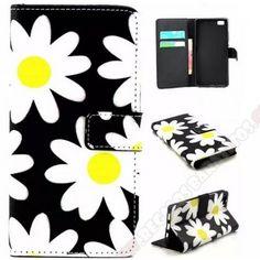 Funda tapa cartera margaritas flor para Huawei P8 Lite