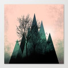 TREES VII  Canvas Print by Pia Schneider [atelier COLOUR-VISION] Free Worldwide Shipping. No-Hassle Returns. #artwork #freeshipping #illustration #landscape #fantasy #trees #triangles #nature #mountains #surreal #abstract #turquoise #mint #black #salmon #society6 #piaschneider #wallart #homedecor #giftideas #coolstuff