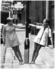 Twiggy with lookalike competition winner, 1967 A photograph of Twiggy (right) with Kerstin Lindberg, swinging round a lamppost in London, taken by Eatwell