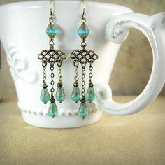 Pompeii Aqua Opal Chandelier Earrings Ocean Beach Wedding