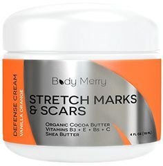 Stretch Marks and Scar Cream - Vanilla Orange - Best Body Moisturizer to Prevent and Reduce Old and New Marks & Scars - Natural & Organic for Pregnancy- Also for Men- 4 oz - By Body Merry - http://essential-organic.com/stretch-marks-and-scar-cream-vanilla-orange-best-body-moisturizer-to-prevent-and-reduce-old-and-new-marks-scars-natural-organic-for-pregnancy-also-for-men-4-oz-by-body-merry/