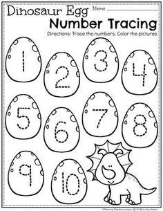 Dinosaur Worksheets, Dinosaur Theme Preschool, Numbers Preschool, Preschool Curriculum, Free Preschool, Preschool Lessons, Preschool Learning, In Kindergarten, Preschool Crafts
