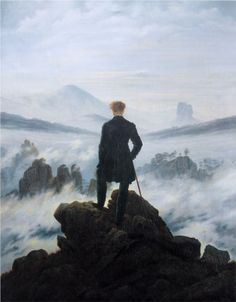 """The wanderer above the sea of fog"" (1818), Caspar David Friedrich."