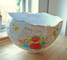 paper mache bowl by Tracy Nors