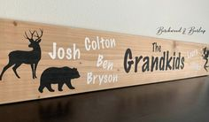 Grandkid's Names Personalized Large Wood Sign 60th Birthday Party, Birthday Party Decorations, Custom Wood Signs, Wooden Signs, Diy Gifts, Gifts For Mom, Customized Gifts, Personalized Gifts, Rustic Decor