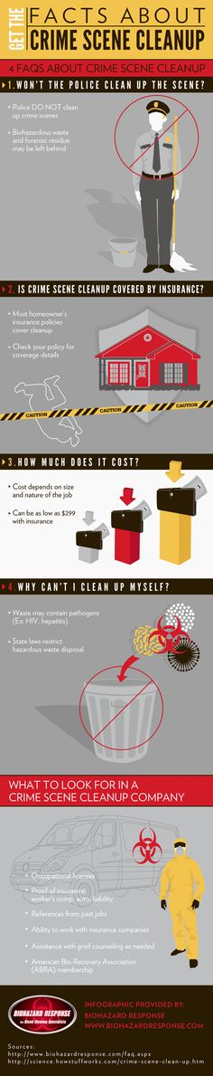 You should never try to clean up a crime scene by yourself. Waste may contain pathogens such as HIV or hepatitis and state laws restrict hazardous waste disposal. Take a look at this Orlando crime scene cleanup infographic to find out what you should do.