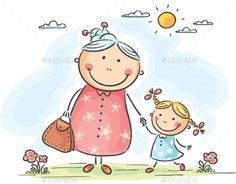 Illustration of Little girl and her granny on a walk vector art, clipart and stock vectors. Art Drawings For Kids, Drawing For Kids, Easy Drawings, Art For Kids, Envelope Art, Cartoon Sketches, Mothers Day Crafts, Stick Figures, Illustration Girl