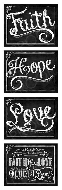 Items similar to Scripture Chalk Art Prints (set of four) - Faith, Hope, Love and I Cor on Etsy Chalk It Up, Chalk Art, Scripture Chalkboard Art, Hope Scripture, Love Wall, Faith Hope Love, Word Art, Fine Art Paper, Techno