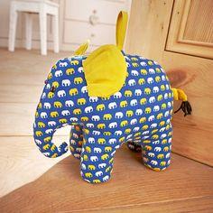 Elephant Door Stop - decorative accessories Diy Doorstop, Doorstop Pattern, Fabric Crafts, Sewing Crafts, Door Draft, Small Sewing Projects, Door Stopper, Hand Puppets, Stuffed Animal Patterns