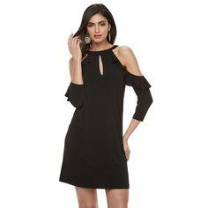 Women's Jennifer Lopez Cold-Shoulder Ruffle Shift Dress, Size: Small, Black