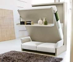I wish I had known about these when we lived in much smaller spaces.  Still love the concept for a guest bedroom that needs to function in other ways.  Resource Furniture #wallbed #murphybed #spacesaver