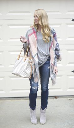Strawberry Chic: How to wear a blanket scarf like a poncho