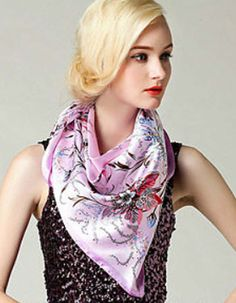 Pink Floral Silk Square Scarf