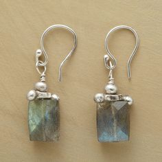 "LABRADORITE PILLAR EARRINGS -- Bead and barbell accents in sterling silver crown faceted labradorites beneath French wires. Handcrafted in USA exclusively for Sundance. 1-1/8""L."