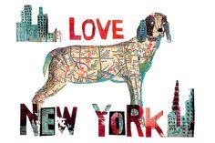 Map NewYork Dog Art Print by pinkypilotsart on Etsy - $7.00-$25.00 USE code PIN10 FOR 10%off  - #mapdogart  #dogdecor #dogwallart